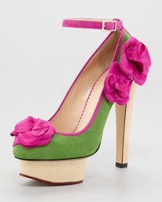 Ooh La La La La !    Charlotte Olympia Flora Ankle-Strap Pump via Neiman Marcus
