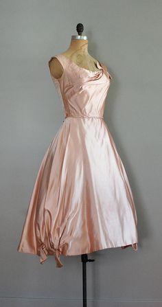 Ceil Chapman Blush Silk 50s dress