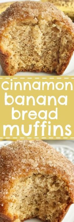 Bread and Baking: Cinnamon banana bread muffins taste like banana bread in muffin form! They are perfectly light and moist, loaded with banana flavor, and bake up beautifully each time. Topped in butter and a sweet cinnamon crumble. Muffins Blueberry, Banana Bread Muffins, Zucchini Muffins, Muffin Bread, Muffin Top, Just Desserts, Delicious Desserts, Dessert Recipes, Yummy Food
