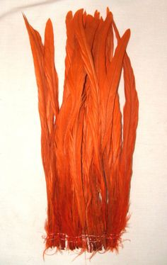 """LONG 12-14"""" dyed rooster tail feathers strung at bottom.  Pack of 25 for 13.95 Other colors available in our ebay store #roosterfeathers #feathers #tailfeathers #orange"""