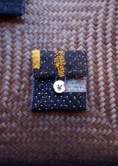 sashiko baby amulet pouch in antique midnight blue by lesamovar