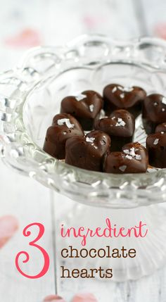 These chocolate peanut butter hearts are made with just THREE ingredients! Make these for your sweetheart!