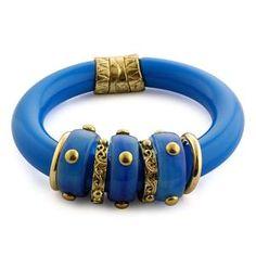 Blue Resin Bangle in Goldtone