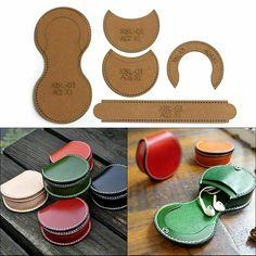 Diy Coin Purse, Coin Purse Pattern, Wallet Sewing Pattern, Purse Patterns, Leather Craft Kits, Leather Diy Crafts, Leather Bags Handmade, Leather Working Patterns, Sewing Leather