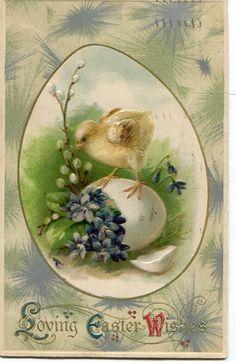 Easter postcard vintage Easter Chick от sharonfostervintage