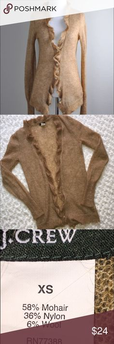 "J. Crew Ruffle cardigan mohair blend SZ XS creat condition sweater Bust 30""/Length 28""/Sleeve 27""smoke free pet free shop pictures taken on photo prop fabric. inventory K J. Crew Sweaters Cardigans"