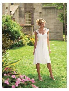 Sheath Sweetheart Empire Waist Pleated Tea Length Chiffon Cap Sleeves Ivory Tea Length Wedding Dress