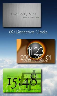 One More Clock Widget v1.4.1  Requirements: Android 1.6 and up  Overview: Spruce up your homescreen with 60+ fun, expressive clock widgets!  60+ dynamic clock widgets for your homescreen, ad free.