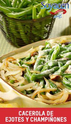 Receta vegana: Cacerola de ejotes y champiñones / Casserole of mushrooms and green beans recipe.