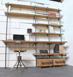 Caroline Reclaimed Scaffolding Boards and Dark Steel Pipe Industrial Desk and Shelves with Storage Boxes on Wheels - Bespoke Urban Furniture Industrial Shelving, Industrial Pipe, Vintage Industrial, Urban Industrial, Industrial Office, Urban Furniture, Pipe Furniture, Industrial Furniture, Industrial Decorating