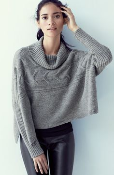 Free shipping and returns on Eileen Fisher Turtleneck Crop Poncho & Leather Front Leggings at Nordstrom.com.