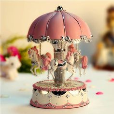 LIWUYOU Carousel Horse Music Box With Clockwork Colorful LED Night Light Illumination Rotate,Play the Castle in the Sky Tune Color Pink >>> Wow! I love this. Check it out now! : Musical Boxes and Figurines