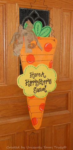 Polka Dotted Personalized Easter Carrot Wooden Door Hanger! on Etsy, $35.00