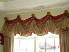 Swag Curtain Valance Over Wood Blinds Swag Curtains