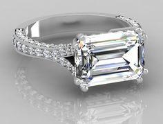 unique settings for emerald cut stones | 08 Ct Unique Emerlad Cut Huge Diamond Engagement Ring Solid Platinum