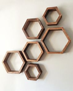 Items similar to Set of 3 Hexagon Shelves with Rose Gold Interior on Etsy Set of 3 Walnut Stain with Rose Gold Interior Hexagon by Taute Living Room Partition Design, Room Partition Designs, Wall Decor Design, Wood Design, Rose Gold Interior, Gold Shelves, Diy Crafts For Adults, Hexagon Shelves, House Plants Decor
