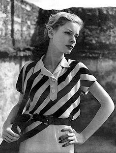 Lauren Bacall | Harper's Bazaar, May 1943 #vintage #1940s #stripes                                                                                                                                                      More