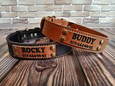 Leather gifts for loved ones! Pink Dog Collars, Custom Dog Collars, Personalized Dog Collars, Puppy Collars, Dog Collar With Name, Dog Collar Boy, Dog Lover Gifts, Gift For Lover, Leather Gifts