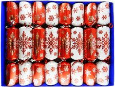 Red and White Snowflake Family Christmas Crackers - hand filled in UK with quality gifts for all the family Christmas Trees Online, Cozy Christmas, Christmas Items, Family Christmas, White Christmas, White Snowflake, Snowflakes, Christmas Crackers, Fiber Optic