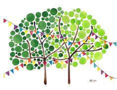 Celebration Print Original Watercolor Tree Artwork by Angie Vandenbogaard Tree Watercolor Painting, Watercolor Print, Decoupage, Tree Artwork, Art Reproductions, Painting Inspiration, Wall Art Prints, Canvas Art, Creations