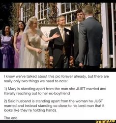 There is more space between John and Mary than John and Sherlock while John and Mary are greeting people after their WEDDING