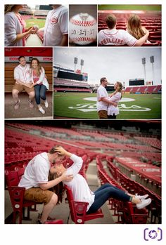 Cincinnati Reds Engagement Session. An engagement session with a fun, baseball loving couple at the Great American Ballpark / Cincinnati Reds Baseball Stadium!