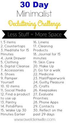 30 day minimalist decluttering challenge