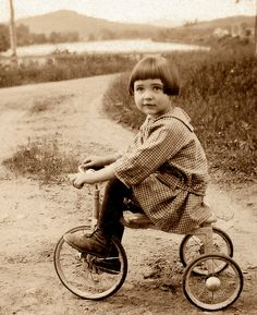 :::::::::: Vintage Photograph ::::::::::   Rachel on her Tricycle, New Hampshire, about 1927