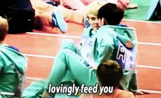 Tao just magically taking out a cookie and feeding his babe. Omg I can't. <3 #TaoHun