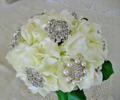 hydrangea brooch bouquet | Bridal Hydrangea Brooch Bouquet With Vintage and New Broooches