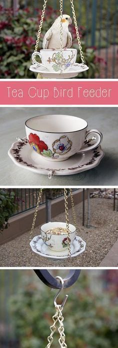 Super quick and easy way to transform your backyard or porch! Bird feeders come in all shapes and sizes, but this tea cup bird feeder is so cute and unique! Best part is that it's also easy to make. Grab the how to instructions for this simple DIY project here: http://www.ehow.com/how_5150815_make-tea-cup-bird-feeder.html?utm_source=pinterest.com&utm_medium=referral&utm_content=inline&utm_campaign=fanpage #backyardbirds