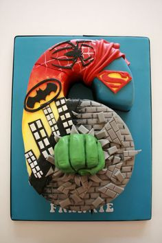 Number 6 Super hero cake