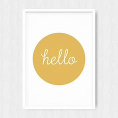 INSTANT DOWNLOAD: Gold Printable Hello Quote Poster Print    If you want the poster in the international ISO standard (A3 etc.), please click