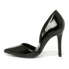 Arrive on the Scene Black Patent D'Orsay Pumps ($26) ❤ liked on Polyvore featuring shoes, pumps, black, black patent leather pumps, black stilettos, stiletto pumps, black high heel pumps and high heels stilettos