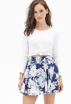 Floral Print Organza Skirt | FOREVER 21 - 2000138664