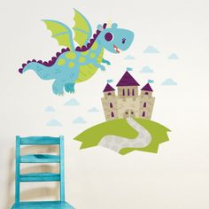 dragon and castle wall decals