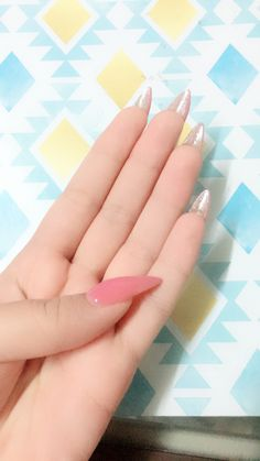 Jelly semi transparent pink nails with glitter underneath . Just got them done today in Thailand. #nails #nailstagram  #cute #stiletto #pink #kawaii #bae