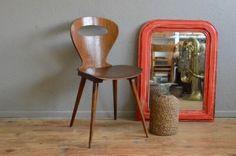 Chaise Baumann vintage Rustique années 1960 signée bistrot restaurant siège de…