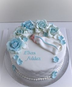 Baby Shower Cakes For Boys, Baby Boy Cakes, Cake Decorating Designs, Cake Designs, Baptisms, Cake Board, Cake Toppings, Christening, Food Art
