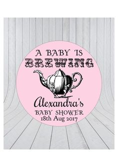 Baby Brewing StickersTea Party Shower Favour Stickers StickersBaby Thank You Tea 051