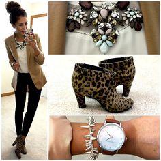 Khaki blazer + leopard print booties