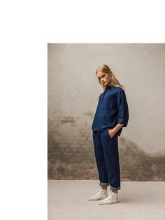 Indigo light weight cotton shirt and cargo relaxed pants.  Pluto - On the Moon
