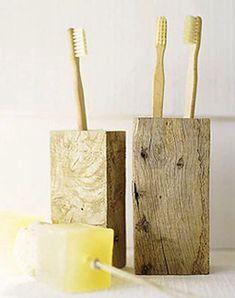 copy this: wood block toothbrush holder