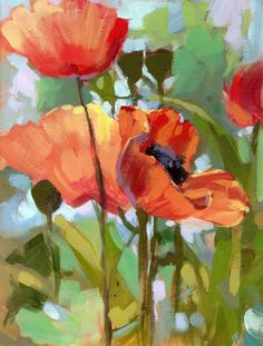 "Poppies  Oil on gessoed board  8""x10"" http://www.patricksaunders.com"