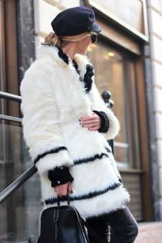 Cozy Fur/ Sweater- Woakao backpack - http://www.woakao.com/product/black-vertical-zip-backpack-BPACK2013110426.html , Choies sunglasses - http://www.choies.com/product/half-frame-angular-cat-eye-sunglasses