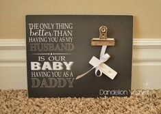 Break the news for the new daddy - to - be with this cute frame. Attach a pregnancy test or ultrasound photo. Later it can hold pictures of the precious new one! by Dandelion Wishes #pregnancyannouncementfordad,