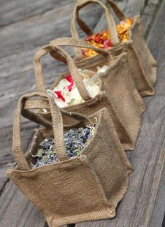 Burlap Flower Girl Basket Filled With Your Choice Of Petal Confetti - Wedding Dried Flowers - Rustic Weddings - Wedding Party - Freeze Dried. $18.75, via Etsy.