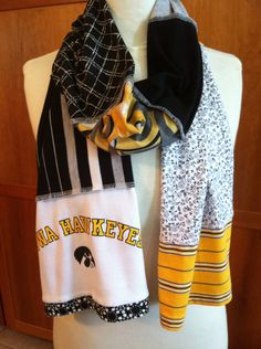 UPCYCLED t-shirt scarf... University of IOWA...  Hawkeyes... black and old gold