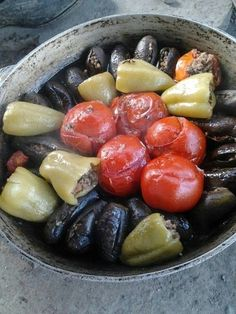 dolma stuffed veggies bell pepper tomato and aubergine with meat and rice