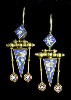 A pair of late 19th Century gold drop earrings.